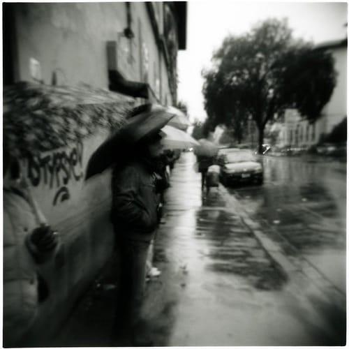 Street scene in the rain