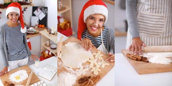 Christmas Baking wide, medium and close-up shot